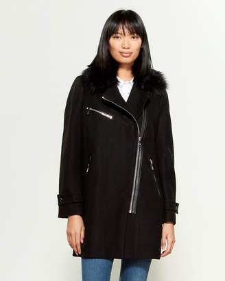 Karl Lagerfeld Paris Faux Fur Collar Moto Coat