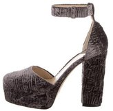 Paul Andrew Crushed Velvet Platform Pumps