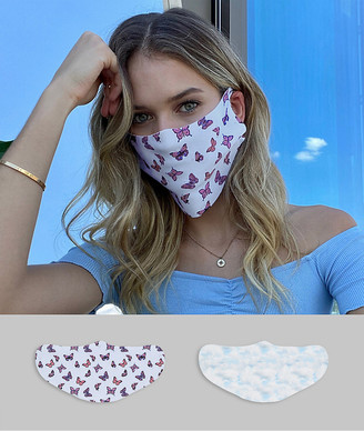 ASOS DESIGN 2 pack face covering in butterfly and sky print