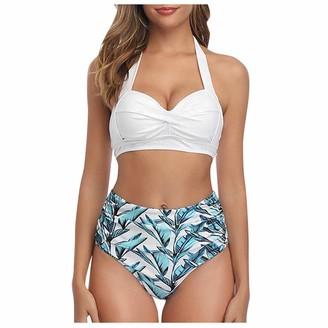 Moent Women Vintage Swimsuit Two Piece Retro Halter Ruched High Waist Print Bikini Set Hanging Neck High Waist Strap Print Split Swimsuit Bikini White XL