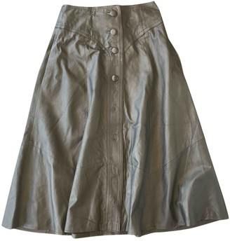 Barneys New York Black Leather Skirt for Women Vintage