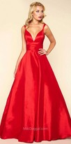 Mac Duggal Deep V-back Satin Ball Gown