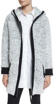 Rag & Bone Adele Hooded Ribbed Sweater Coat, Ivory