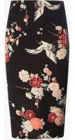 Dorothy Perkins Womens Black Floral and Bird Print Pencil Skirt- Black