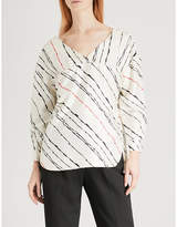 Whistles Striped silk-twill top