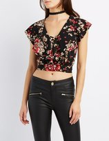Charlotte Russe Floral Ruffle Lattice Crop Top