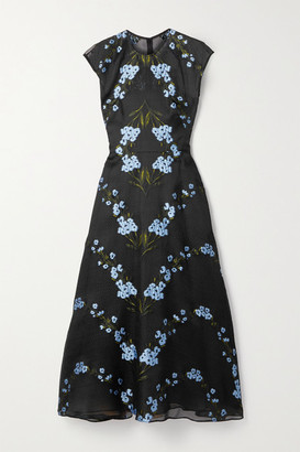 Lela Rose Wildflower Fil Coupe Silk-blend Organza Midi Dress - Black