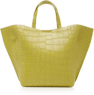 Imago A IMAGO-A Croc Embossed Leather Shell Tote