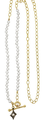 Cathy Waterman Freshwater Pearl Double Diamond Necklace - Yellow Gold