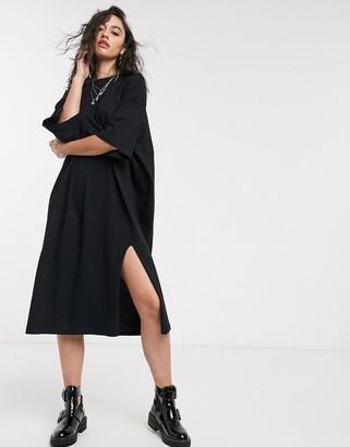 Asos Design DESIGN oversized t-shirt midi dress in black