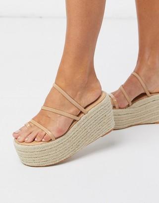 Simmi Shoes Simmi London Melanie espadrille flatform with toe loop in beige