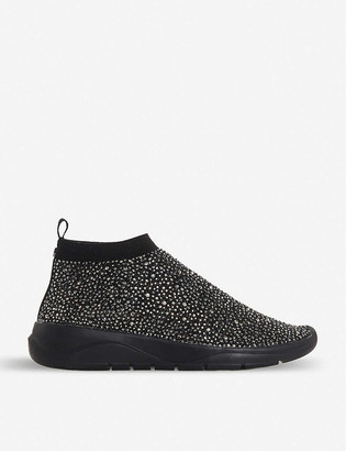 Dune Hot Fix embellished knit sock trainers