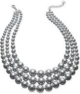 Charter Club Silver-Tone Three-Row Imitation Gray Pearl Collar Necklace, Only at Macy's