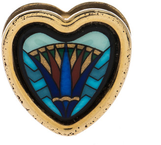 Frey Wille Vintage Blue Fire Enamel Gold Plated Heart Pendant