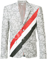 Thom Browne striped floral blazer - men - Cupro/Cotton/Polyester - II