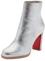 Christian Louboutin Adox Metallic Stack-Heel Red Sole Bootie, Gray