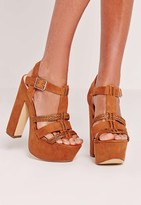 Missguided Pleated Strap Platforms Tan