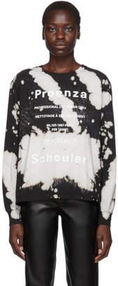 Proenza Schouler White and Black PSWL Bleach Splatter Long Sleeve T-Shirt