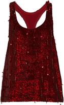 Ashish Sequin-embellished scoop-neck sleeveless silk top