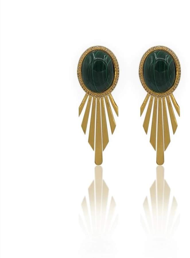 Eliza J Bautista - Fay Art Deco Earrings With Malachite & White Topaz In 18K Gold Vermeil