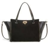 Valentino Medium Rockstud Suede & Leather Tote - Black
