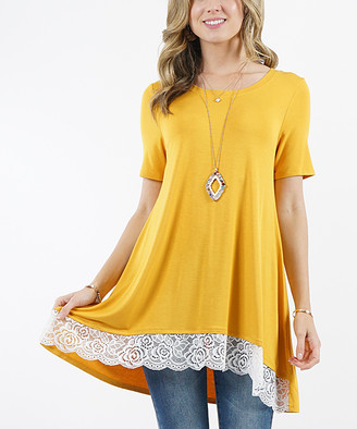 Lydiane Women's Tunics DK - Dark Mustard Crewneck Short-Sleeve Lace-Trim Hi-Low Tunic - Women