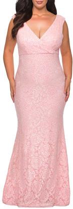 La Femme Plus Size V-Neck Sleeveless Lace Gown