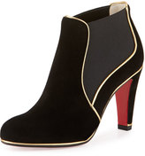 Christian Louboutin Loulouboot Suede 85mm Red Sole Ankle Boot, Black/Gold