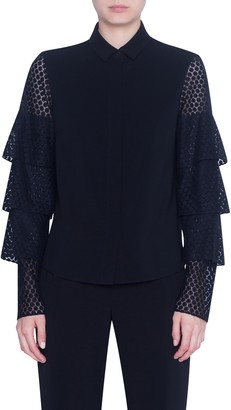 Akris Punto Dot Lace Tiered Sleeve Shirt
