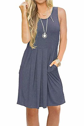 AUSELILY Women's Sleeveless Pleated Loose Swing Casual Dress with Pockets Knee Length(UK 8-10
