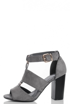 Quiz Grey Cutout Block Heel Sandals