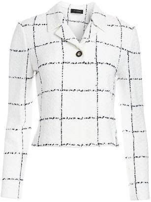 St. John Herringbone Grid Knit Jacket