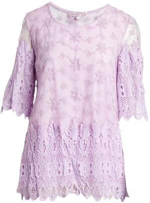 Pretty Angel Women's Blouses PURPLE(PU) - Purple Lace Silk-Blend Scoop Neck Top - Women