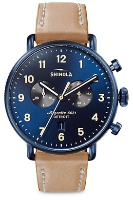 Shinola The Canfield Chronograph Sunray Dial Leather Strap Watch