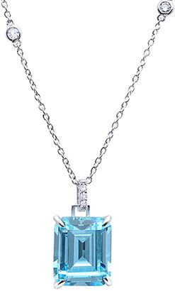 Crislu Silver & Platinum Cz Pendant Necklace