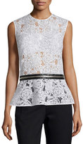 McQ by Alexander McQueen Lace Zip-Trim Peplum Top, Ivory
