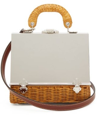 Rodo Sixty-six Small Wicker & Metal Box Bag - Silver Multi