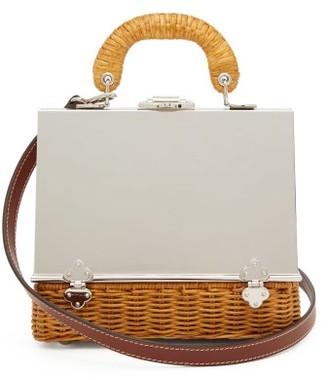 Rodo Sixty-six Small Wicker & Metal Box Bag - Womens - Silver Multi