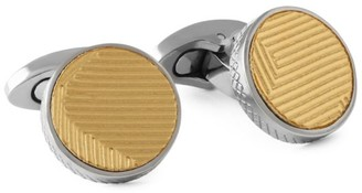 Tateossian Titanium Leather Round Cufflinks