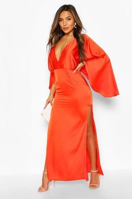 boohoo Petite Satin Kimono Sleeve Maxi Dress