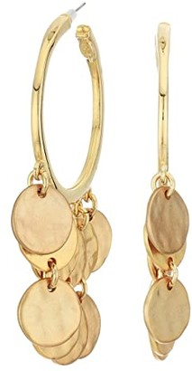 Kenneth Jay Lane Pierced Hoop with Coin Drops (Gold) Earring