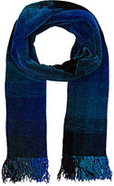 Barneys New York MEN'S OMBRÉ PLAID CHENILLE SCARF