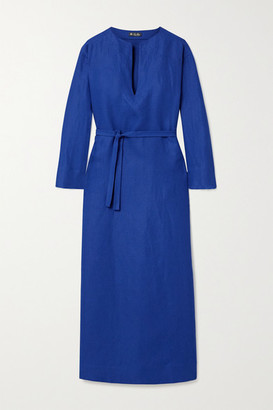 Loro Piana Belted Flax Midi Dress - Royal blue
