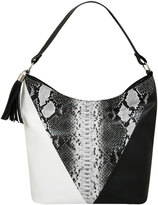 Yours Clothing Mono & Snakeskin Colour Block Tassel Shoulder Bag