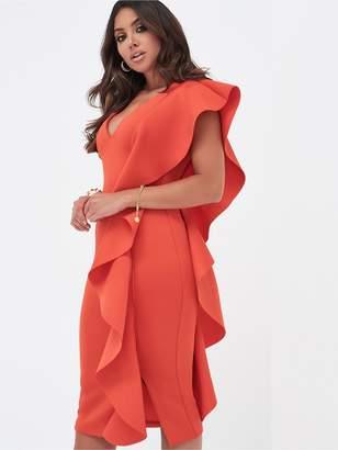 Lavish Alice Draped Frill V-Neck Scuba Midi Dress - Scarlet Red