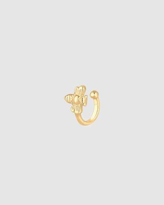 Elli Jewelry Earrings Single Earcuff Bee Summer 925 Silver Gold Plated
