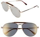 Tom Ford Men's Sean 61Mm Aviator Sunglasses - Shiny Rose Gold/ Smoke Mirror