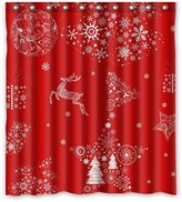 "Crystal Emotion Xmas Merry Christmas Reindeer Red Shower Curtain 66"" x 72"" Waterproof Polyester Fabric Shower Curtain"