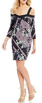 GUESS Juliet Printed Cold-Shoulder Sheath Dress