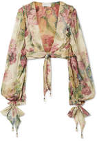 Zimmermann Melody Cropped Tie-front Floral-print Silk-crepon Top - Beige